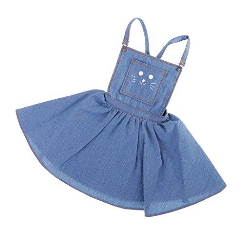 Bjd Dress - MonkeyJack Fashion Casual Cute Cat Face Printed Shoulder Strap Jeans Skirt Dress For 1/3 BJD MSD YOSD DOA Dolls