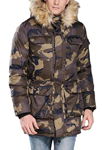 EKU Men's Camouflage Faux Fur Hooded Zipper Quilted Padded Military Down Jacket Parka 1