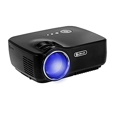 iClever Mini Portable Video LED Projector (IC-P02) for Home Cinema Theater/Game/Tv Show with 1080p resolution, 5m Maximum Projection Distance