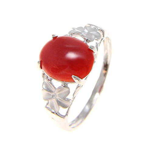 Genuine cabochon natural red coral ring Hawaiian plumeria flower 14k white gold size 10.5
