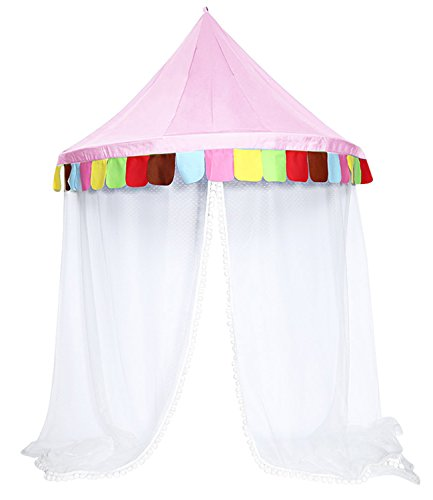 DANCHEL Bed Canopy Kids Play Tent Mosquito Net For Children's Reading Toy Area(Free Non-trace Nail)(Pink,L)