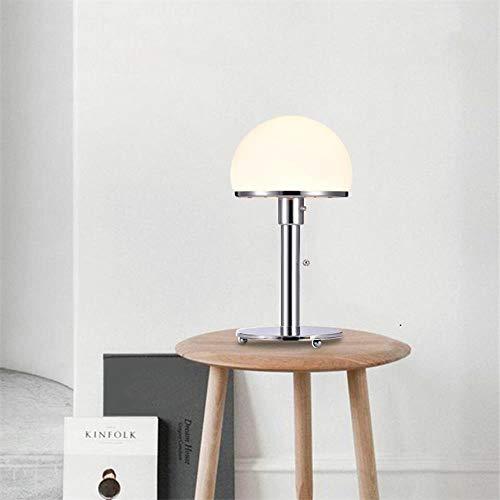 Disenador LED Lampara de mesa Wilhelm Wagenfeld Bauhau Lamparas de mesa Lamparas de escritorio Dormitorio Estudio Lustres de noche Lamparas de cristal LED Accesorios, Base de hierro forjado B