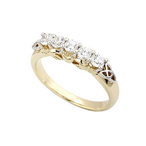 Diamond Irish Claddagh Ring with Trinity Knot 14K Gold Size 6