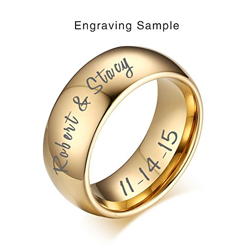 Vnox Custom Engraving Gold Plated Tungsten Carbide Wedding Band Promise Engagement Ring for Men Women, Size 12