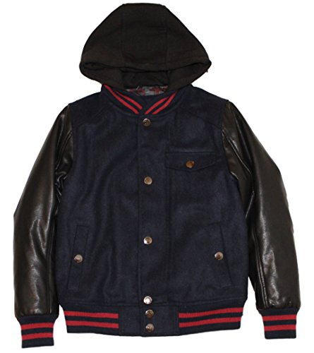 Urban Republic Boys Wool Varsity Jacket With Faux Leather Sleeves and Fleece (Blue Wool Varsity Jacket)