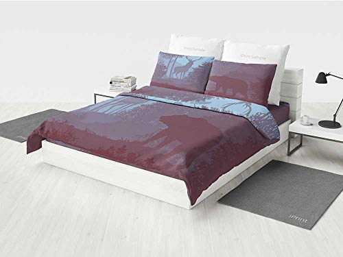 - Cabin Decor Bed Set King Size Grizzly Bear and Antler Mysterious Woods Smoky Jungle Fauna Landscape Printing Four Pieces of Bedding Set Sky Blue Dried Rose