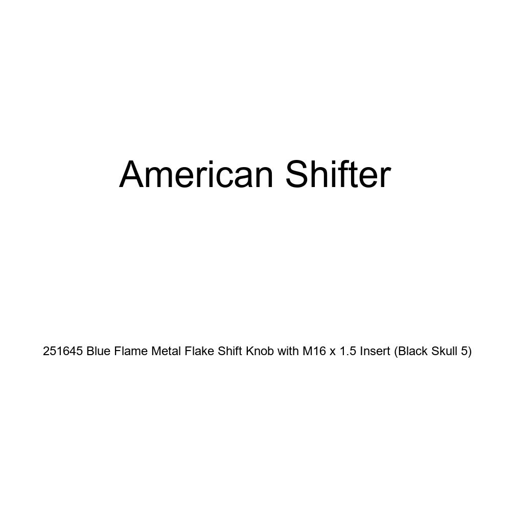 American Shifter 251645 Blue Flame Metal Flake Shift Knob with M16 x 1.5 Insert Black Skull 5