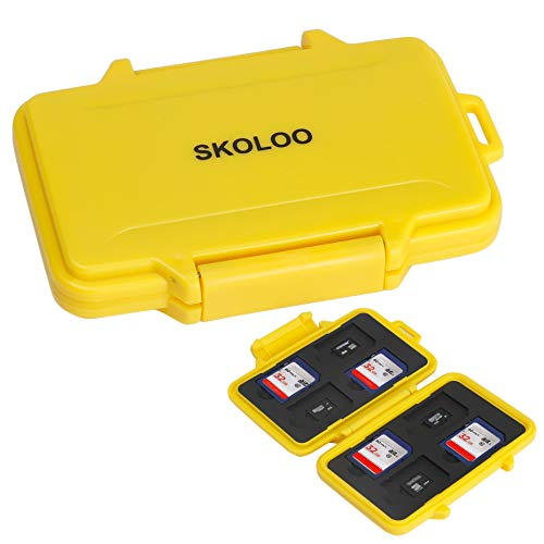SD Card Holder Case Hunter, SKOLOO Weatherproof Micro SD Card Case Small Single Cute, SD Card Storage Container, Yellow
