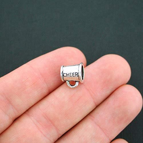 4 Cheer Megaphone Beads Antique Silver Tone 3D for European