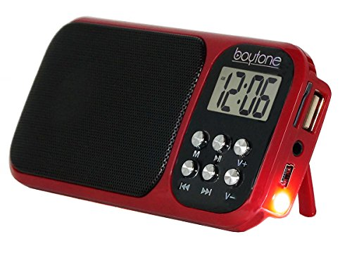 Boytone BT-92R Portable Transistor Alarm with Earphones, Rechargeable LCD Tuning & SD Flash