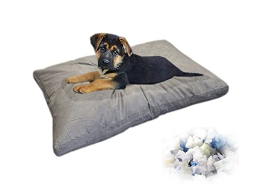 eConsumersUSA 37 x27 Gray Microsuede Medium Size Mixed Shredded Memory Foam Premium Overfilled Pet Dog Orthopedic Pillow Bed with Waterproof – Resistant Inner Cover FREE Bonus 2nd External Cover