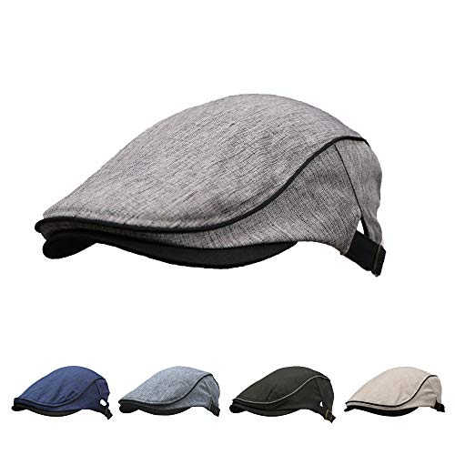 BIGHAS Men's Flat Cap Ivy Newsboy Gatsby Cabbie Beret hat 28 Optional (104 Light Grey)