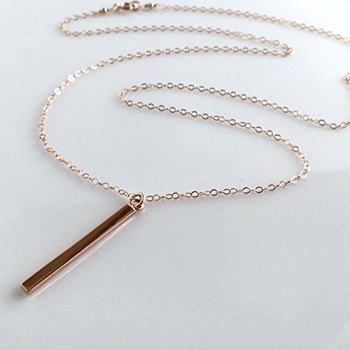 Amazoncom Rose Gold Vertical Bar Necklace Skinny Bar Necklace