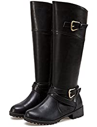 Knee High Boots For Women Side Zip Leather Flat Riding Boots With Buckle Straps
