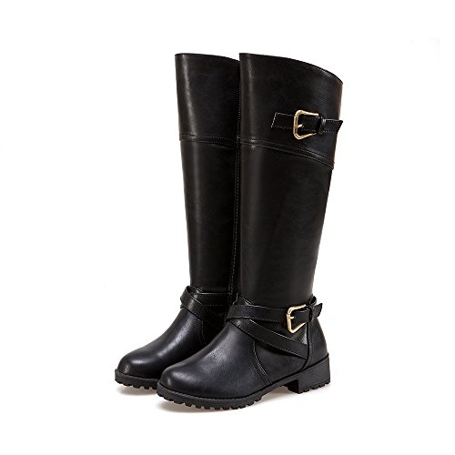 Low Heel Riding Boot (Wonvatu Knee High Boots for Women Side Zip Leather Flat Riding Boots with Buckle Straps)