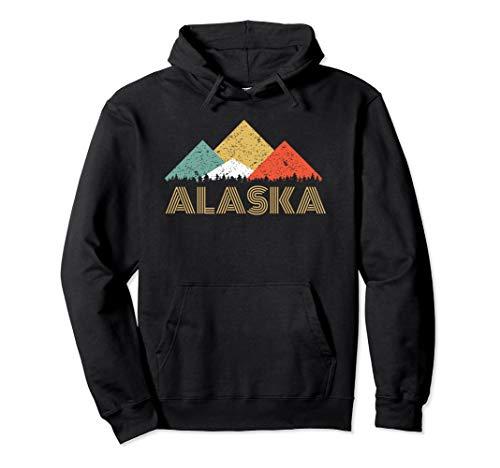Retro Alaska Mountain Hoodie for Men Women and Kids