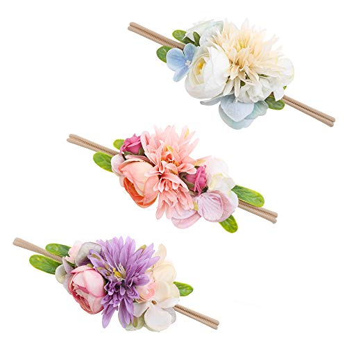 Baby Girl Floral Headbands Set - 3pcs Flower Crown Newborn Toddler Hair Accessories by mligril, Autumn Chrysanths, Small -