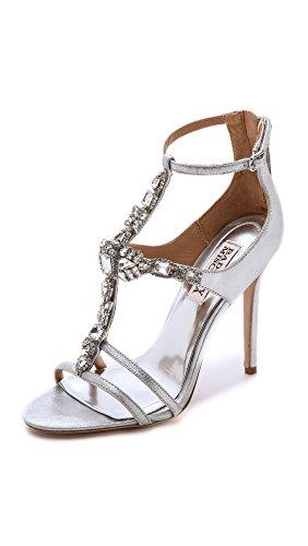 Badgley Mischka Women's Giovana Ii Dress Sandal, Silver/Metallic Suede, 9.5 M US