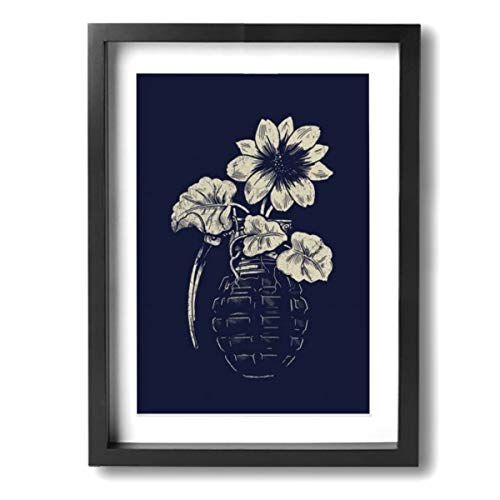 Framed Modern Canvas Wall Art Flowers in Grenade, Oil Painting Pictures Decor with Mat Ready to Hang for Home Kitchen Bathroom Office - 12 X 16 Inch ()