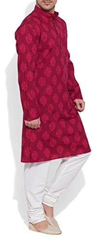 ShalinIndia Men Cotton Long Kurta Nehru Collar 3 Pockets-Raspberry-Size 42 inch by ShalinIndia (Image #3)