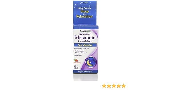 Amazon.com : NatrolAdvanced Melatonin, Calm Sleep, Fast Dissolve Tablets, Strawberry 60 ea (Pack of 7) : Beauty