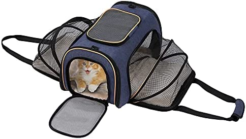 IOKHEIRA Pet Carrier, Breathable Foldable Cat Carrier, Expandable Dog Backpack Carrier for Small Dogs, Mesh Sided Pet Carrier Backpack, Dog Carrier for Airplane, Car& Bike Travel