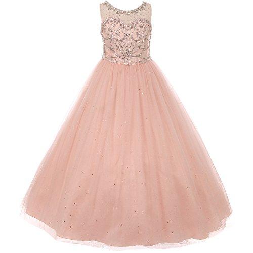 Big Girls Illusion Neckline AB-Stone Crystal Beading Bodice Back Corset Style Girl Dress Blush - Size 12 by CrunchyCucumber