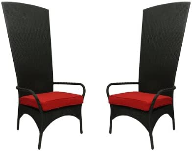 NorthLight Black Resin Wicker Outdoor Patio King Chairs44 Red Cushions44 Set Of 2