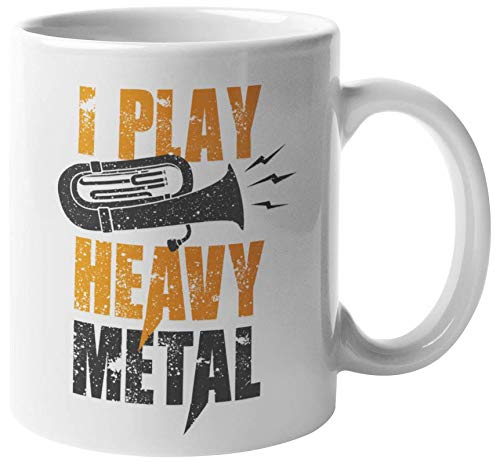 I Play Heavy Metal. Rock Music Lovers' Coffee & Tea Gift Mug For Musicians, Artists, Composer, Enthusiasts, Students, Rockers, Entertainers, Vocalist, Singers, Women And Men -
