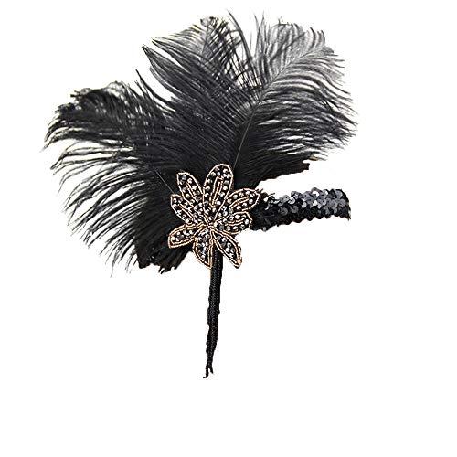 1920s Flapper Headband Feathers Roaring 20s Gatsby Costume