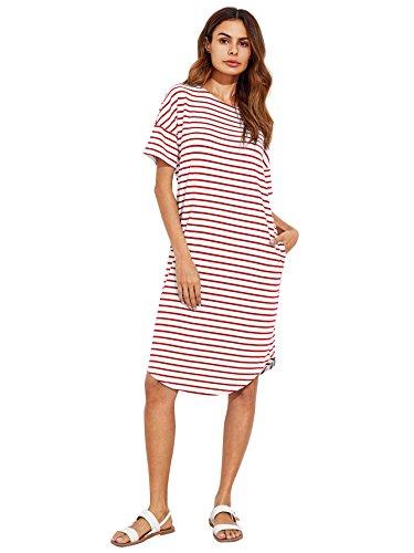Striped Drop Waist Dress - 4