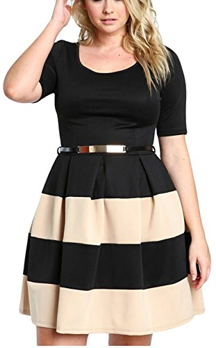 Bestfort Damen Kleid Dress Oversize Farbe Streifen Rundhals Baumwolle  Elastische Kurzer mit Gürtel A-line 37c643c631