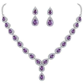Clearine Women's Wedding Bridal Teardrop CZ Infinity Figure 8 Y-Necklace Dangle Earrings Set Amethyst Color Silver-Tone