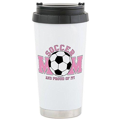 CafePress - Proud Soccer Mom Stainless Steel Travel Mug - Stainless Steel Travel Mug, Insulated 16 oz. Coffee Tumbler
