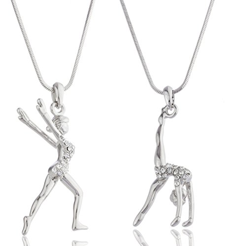 Silvertone with Clear Stones Flipping & Landing Gymnast 16 Inch Snake Franco Necklace Set