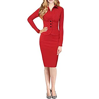 GigaMax(TM) Spring Autumn Women Button Dress Long Sleeve Bodycon Bandage Vestidos Knee Length