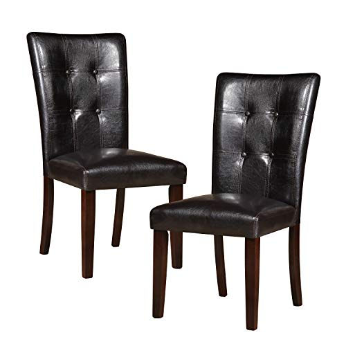 Homelegance Decatur PU Leather Dining Chair (Set of 2), Dark Brown