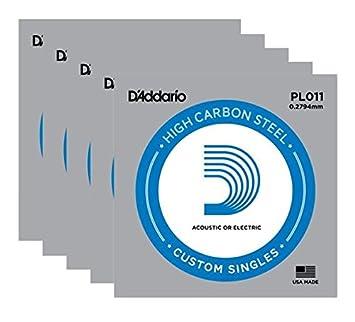 D Addario - Serie Plain Steel - Código PL011 - Juego de 5 cuerdas individuales