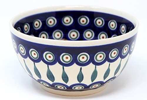 Polish Pottery Ice Cream/Cereal Bowl Decoration Inside From Zaklady Ceramiczne Boleslawiec #971/1-56 Peacock Pattern, Height: 2.8