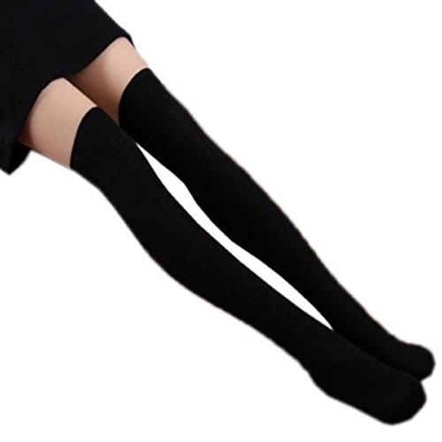 Coromose Women Knit Over Knee Thigh Stockings Spiral Pattern High Socks (Black 1) (Thigh High Socks)