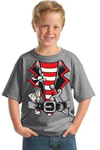 Awkwardstyles Youth Pirate Costume T-shirt Happy Halloween Kids Shirt M Gray