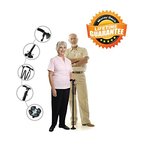 Kitchen Krush Travel Adjustable Folding Canes and Walking Sticks for Men and Women with Led Light and Cushion Handle for Arthritis Seniors Disabled and Elderly Best Mobility Aids Cane by Kitchen Krush (Image #8)