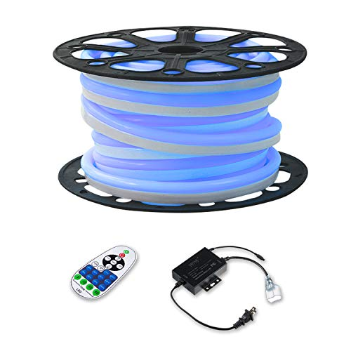 Shine Decor LED Neon Lights, 110V Dimmable Flexible Waterproof Rope Lights, 2835 120LEDs/M, for Indoor Outdoor Commercial Lighting Decoration, Accessories Included, 50ft Blue