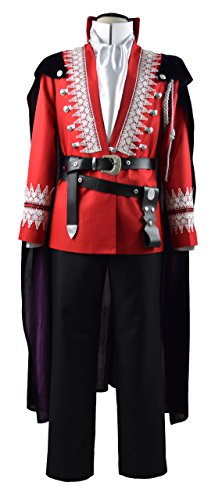 Beauty Costume Mens Charming Red Uniform Outfit With Cloak Cosplay Costume (Ups Uniform Costumes)