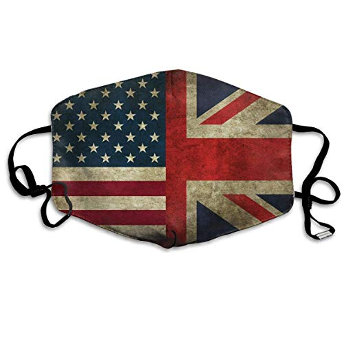 USA UK Flag Mouth Chic Mask Unisex Dust FaceChic Mask Reusable Chic Mask for Men and Women ()
