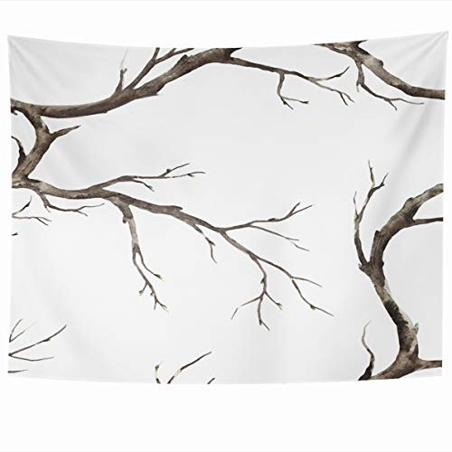 Ahawoso Tapestry 80x60 Inches Retro Botanical Simple Watercolor Pattern Old Dry Tree Bright Branch Nature Botany Elegance Flower Home Decor Wall Hanging Tapestries for Living Room Bedroom Dorm