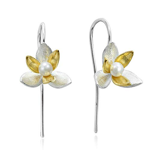 - Two Tone Cultured Freshwater Pearl Orchid Gold Plated Silver .925 Sterling Silver Dangle Earrings