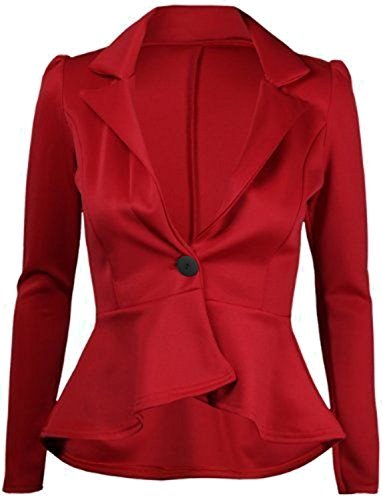 Frill Button (Forever Womens Plain Peplum One Button Frill Coat Blazer Top)
