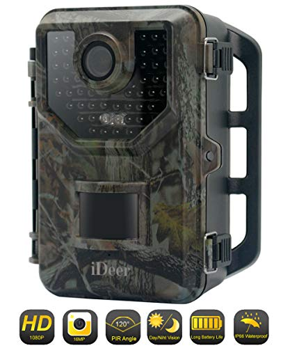 Trail Game Camera 1080P 16MP Wildlife Hunting Camera,Motion Activated Infrared Night Vision Camera for Hunting & Home Security,2.4″ LCD Display,IP66 Waterproof,120° FOV,48 LEDs.IDEER LIFE.Green 03005