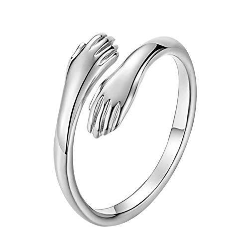 Love Silver Hug Ring-Adjustable Romantic Love Couple Hug Hands Rings,Valentine's Day Ring for Women & Men